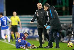 FC Barcelona's Luis Suarez injured during La Liga Real Sociedad v FC Barcelona match in San Sebastian-Donostia, Spain, January 14, 2018. Photo by Acero/AlterPhotos/ABACAPRESS.COM