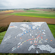 A map of the battle and looking out over the battlefield from the top of the Lion's Mound (Butte du Lion), an artificial hill built on the battlefield of Waterloo to commemorate the location where William II of the Netherlands was injured during the battle. The hill is situated on a spot along the line where the Allied army under the Duke of Wellington's command took up positions during the Battle of Waterloo.