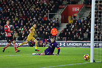Football - 2016 / 2017 Premier League - Southampton vs. Tottenham Hotspur<br /> <br /> Son Heung-min of Tottenham Hotspur fires past Southampton's Fraser Forster to score Spurs third at St Mary's Stadium Southampton England<br /> <br /> COLORSPORT/SHAUN BOGGUST