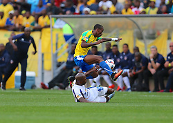 Bongani Kama of Chippa United tackles Yannick Zakri of Mamelodi Sundowns during the 1st leg of the MTN8 Semi Final between Chippa United and Mamelodi Sundowns held at the Nelson Mandela Bay Stadium in Port Elizabeth, South Africa on the 11th September 2016<br /><br />Photo by: Richard Huggard / Real Time Images