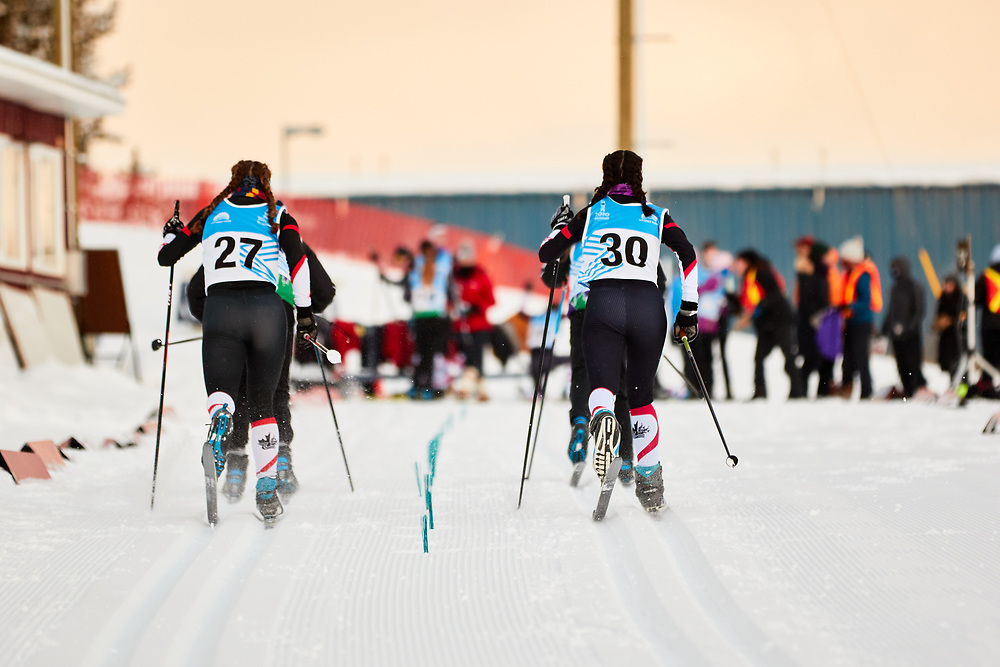 Abby Jirousek (U16 Girl) and Sophie Molgat (U16 Girl) during the 2020 Don Sumanik Ski Race (classic style) at the Mount McIntyre Recreation Centre, December 6, 2020.