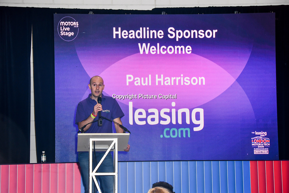 Speaker Paul Harrison at the London Motor & Tech Show opening day on 16 May 2019, at Excel London, UK.