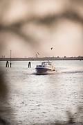 Water Ferry travelling towards Sant'Erasmo. Island, Venice, Italy, Europe
