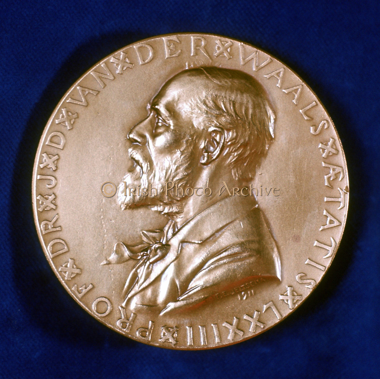 Johannes Diderik Van Der Waals (1837-1923) Dutch physicist. Nobel prize for physics 1910. 1873 equation defining physical state of gas or liquid.  Obverse of commemorative medal