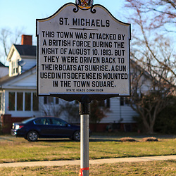 St. Michaels, MD, USA - March 30, 2013: The St. Michaels Historic Marker Sign in St. Michales, MD