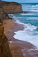 Rugged cliffs along the Great Ocean Road in Victoria, Australia.