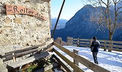 THEMENBILD - Winter Wanderung von Lienz zum Reiter Kirchl welches sich ueber Leisach auf 1130 m Seehoehe befindet, das Bild wurde am 25. Dezember 2011 aufgebommen, im Bild Wanderer bei der Reiter Alm, AUT, EXPA Pictures © 2011, PhotoCredit: EXPA/ M. Gruber