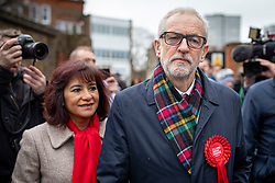 © Licensed to London News Pictures. 12/12/2019. London, UK. Labour Party Leader Jeremy Corbyn (R) and his wife Laura Alvarez (L) leave Pakeman Primary School in North London after casting their votes in the 2019 General Election. Photo credit: Rob Pinney/LNP