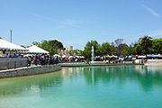 Display Booths Surrounding Peace Lake at Soka University During the 18th Annual International Festival