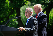 EPA Administrator Scott Pruitt and President Donald Trump announce his decision on the Paris Agreement.  The announcement was made in the White House Rose Garden on May 31, 2017 <br /><br />Photo by Dennis Brack