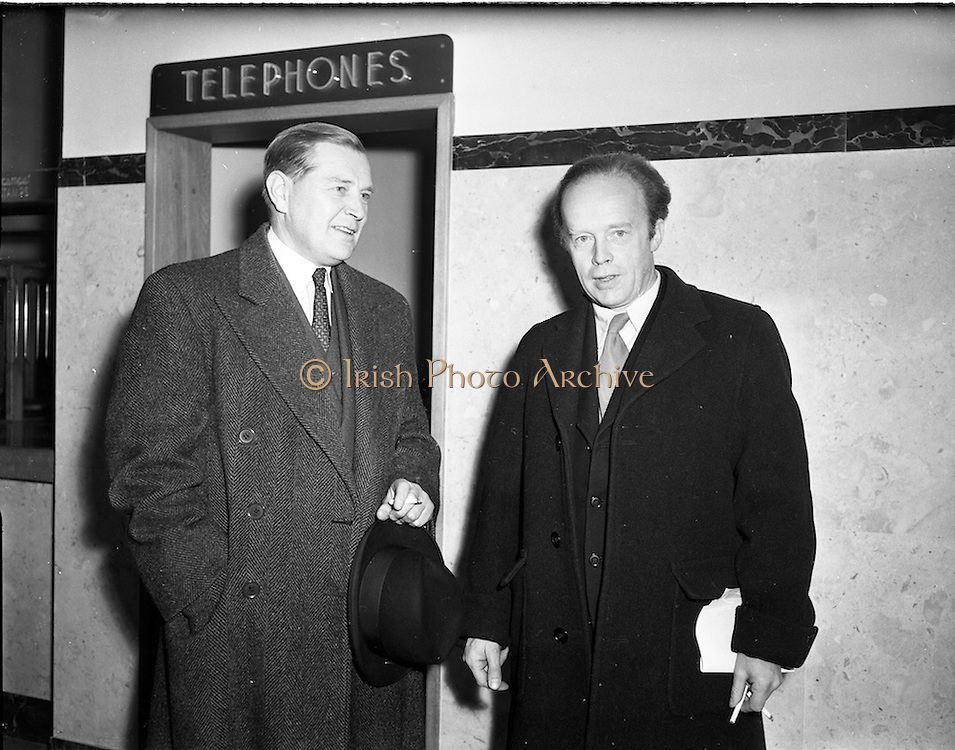 01/12/1952<br /> 12/01/1952<br /> 01 December 1952<br /> Opening of St. Andrew Street Post Office, Dublin. Minister for Posts and Telegraphs Erskine Childers (right) opened the new post office.  Mr S.F. Maskell, Senior ArchitectBoard of Works on left.