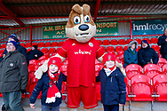 Accrington Stanley mascot with  fans during the EFL Sky Bet League 1 match between Accrington Stanley and Portsmouth at the Fraser Eagle Stadium, Accrington, England on 27 October 2018.