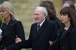 © London News Pictures. 08/06/2012. Thame, UK.  Actor Leslie Phillips CBE arriving at  St Mary's Church in Thame, Oxfordshire for the funeral of former Bee Gee Robin Gibb on June 8, 2012. Robin Gibb died on May 20, 2012 aged 62 following a long battle against cancer. Photo credit: Ben Cawthra/LNP