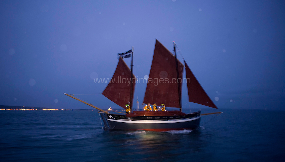 """08.10.20 Pete Goss and his Cornish Lugger """"The Spirit of Mystery"""" sets sail from Newlyn on Route to Cape Town. Pete and his crew of family members are recreating the voyage between Newlyn and Melbourne Australia.......All pictures must be credited """"Lloyd Images""""."""