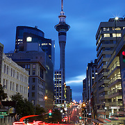 An early evening view of the City of Auckland showing Sky Tower. Auckland, North Island, New Zealand. 25th November 2010. Photo Tim Clayton...