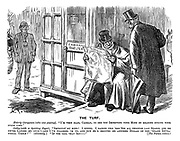 """The Turf. Elderly Clergyman (who was passing). """"I'm very glad, cabman, to see you improving your mind by reading during your spare time."""" Cabby (with a sporting paper). """"Improvin' my mind! I dunno. I backed this 'ere 'oss all through last season, and he never landed me once! - And I've follered 'im up, and now he's dropped me another dollar on the 'Grand Int'national 'Urdle!'"""" (Gloomily.) """"If yer call that imp - """" [The parson retires!"""