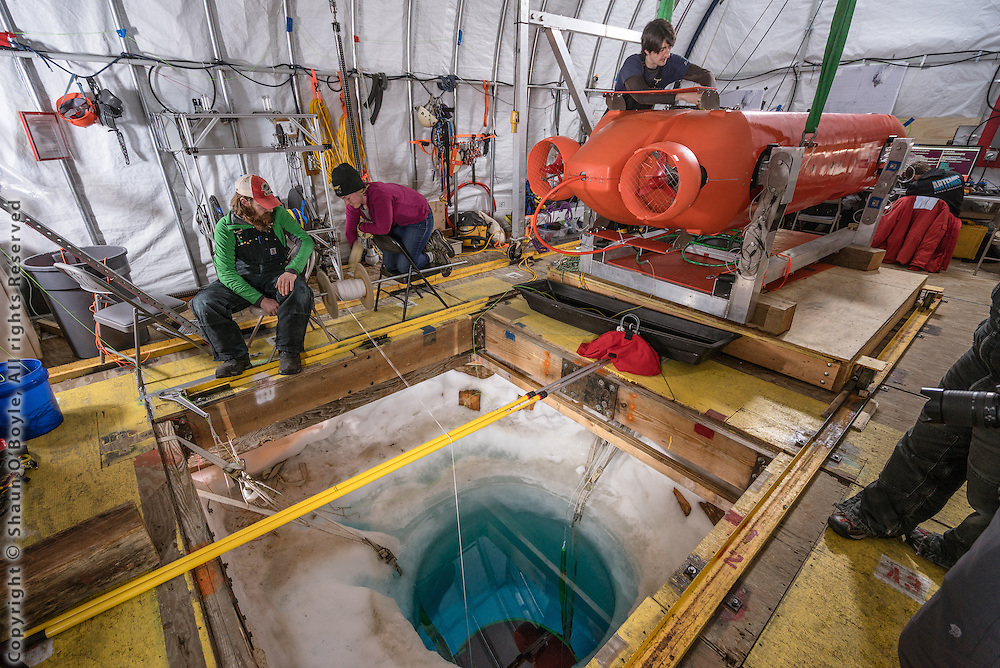 Artemis carries instruments for characterizing the water, ice and any microbiology found within and below the ice: a CTD, ADCP, mapping and profiling sonars, imaging, HD video, a science tower with DOM, chlorophyll-a, turbidity, pH sensors, a water sampler and a protein fluorescence spectrometer to test for microbiological communities within and on the ice.  Artemis is 1000m depth rated, and will perform ~15 km long surveys at the ice-ocean interface to fully characterize the environment.