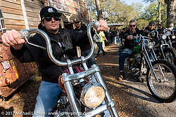 """Chris Wade on his custom 1953 Harley-Davidson Panhead """"Supafly"""" at the Cycle Source Magazine show at the Broken Spoke Saloon during Daytona Beach Bike Week. FL. USA. Tuesday, March 14, 2017. Photography ©2017 Michael Lichter."""