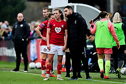 Charlie Wellings of Bristol City and Marco Chiavetta - Mandatory by-line: Ryan Hiscott/JMP - 24/11/2019 - FOOTBALL - Stoke Gifford Stadium - Bristol, England - Bristol City Women v Manchester City Women - Barclays FA Women's Super League