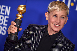 Ellen DeGeneres poses in the press room of the 77th Annual Golden Globes Awards at Beverly Hilton Hotel on January 05, 2020 in Beverly Hills, California. Photo by Lionel Hahn/ABACAPRESS.COM
