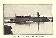 The thousand ton ironclad Essex After Fort Henry [USS Essex was a 1000-ton ironclad river gunboat of the United States Army and later United States Navy during the American Civil War. It was named for Essex County, Massachusetts. USS Essex was originally constructed in 1856 at New Albany, Indiana as a steam-powered ferry named New Era.] from the book ' The Civil war through the camera ' hundreds of vivid photographs actually taken in Civil war times, sixteen reproductions in color of famous war paintings. The new text history by Henry W. Elson. A. complete illustrated history of the Civil war