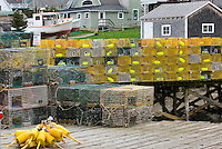 Lobster traps stacked on dock, Bristol maine, USA