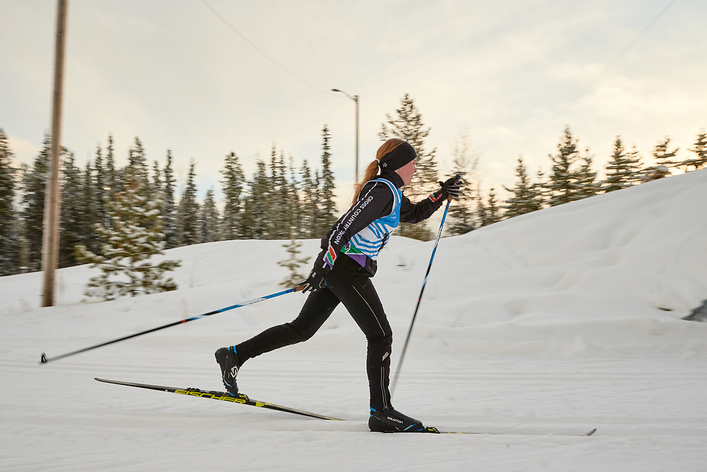 Juliet Crowe (U14 Girl) skis during the 2020 Don Sumanik Ski Race (classic style) at the Mount McIntyre Recreation Centre, December 6, 2020.