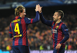 Barcelona's Ivan Rakitic celebrates his goal with Barcelona's Jordi Alba - Photo mandatory by-line: Dougie Allward/JMP - Mobile: 07966 386802 - 18/03/2015 - SPORT - Football - Barcelona - Nou Camp - Barcelona v Manchester City - UEFA Champions League - Round 16 - Second Leg