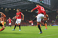 Chris Smalling of Manchester United scores the opening goal - Manchester United vs. Hull City - Barclay's Premier League - Old Trafford - Manchester - 29/11/2014 Pic Philip Oldham/Sportimage