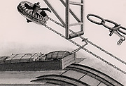 Double inclined plane for raising tub boats from one level of a canal to another.  Detail of the winding mechanism. From 'A Treatise on the Improvement of Canal Navigation' by Robert Fulton (London, 1796).  Robert Fulton (1765-1815) American engineer. Engraving.