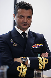 Rear Admiral Jose Enrique Delgado during a press conference aboard HMS Duncan, as four Nato warships have docked in Belfast after monitoring a Russian aircraft carrier through the North Sea and on to the Mediterranean.