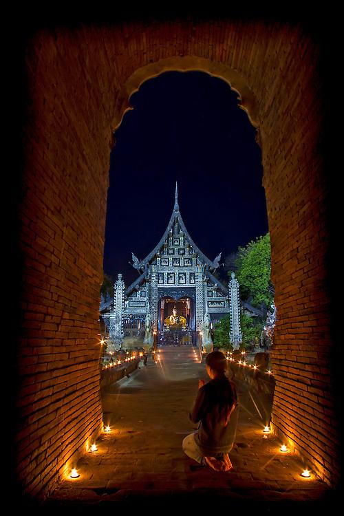Wat Lok Molee Chiangmai, Thailand Candlelight Temple Buddha Ceremony