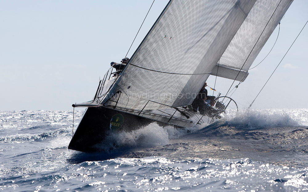 """8th September 2009. Rolex Maxi Worlds 2009.Costa Smeralda YC. Sardinia. Italy..Picture shows """"Jethou"""" Sir Peter Odgen's 60-foot Judel-Vrolick designed Mini Maxi. In action during heavy seas and strong winds on the second days racing..Please credit all pictures: Mark Lloyd/Lloyd Images"""