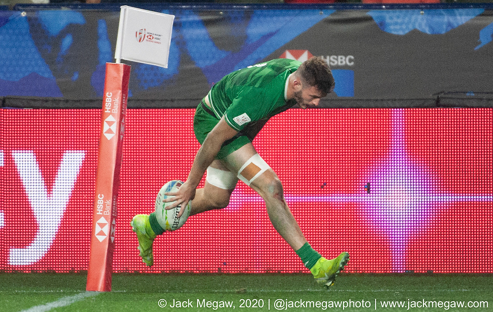 M12 - Fiji and France compete in the group stages of the 2020 Los Angeles Sevens at Dignity Sports Health Park in Los Angeles, California. February 29, 2019. <br /> <br /> © Jack Megaw, 2020