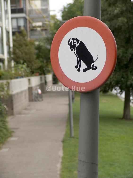 Dog pooping restriction sign Netherlands