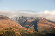 Hiking on the Alpe Adria Trail near the Grossglockner, Carinthia, Austria (October 2015). Pictured here, view towards the Lacknerberg and Schareck on the north side of the Möll Valley, with a dusting of October snow. © Rudolf Abraham