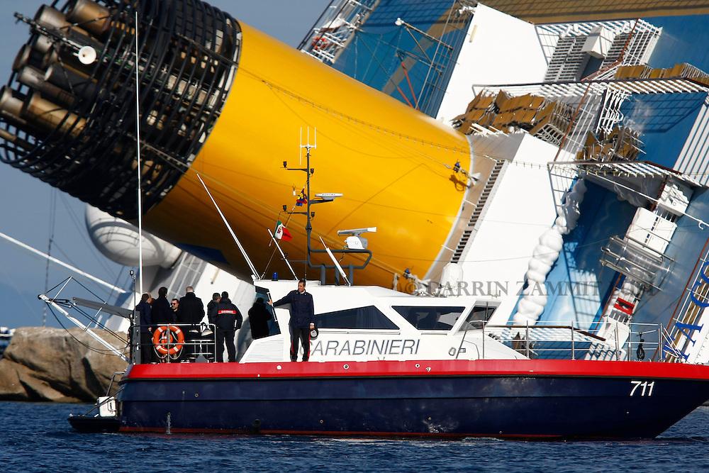Costa Concordia disaster on Giglio Island, Italy.