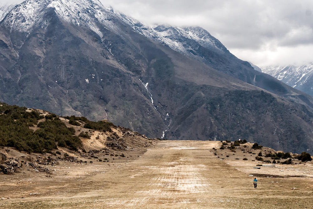 NEPAL. Everest Region, Syangboche. May 5th, 2012.  Syangboche is the closest airstrip to Mount Everest, sitting at an altitude of 12,139ft. It is an unpaved airstrip that services the village of Namche Bazaar, the largest village in the Solukhumbu District of Nepal.