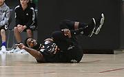 Taylor Hawks Jamie Skeen falls injured in the Sal's Pizza NBL Round 8 match, Hawkes Bay Hawks vs Auckland Rangers, Pettigrew Green Arena, Napier, Saturday, June 16, 2018. Copyright photo: Kerry Marshall / www.photosport.nz