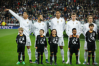 Real Madrid´s Cristiano Ronaldo, Raphael Varane, Jese, Kroos and Modric before Champions League soccer match between Real Madrid  and Paris Saint Germain at Santiago Bernabeu stadium in Madrid, Spain. November 03, 2015. (ALTERPHOTOS/Victor Blanco)