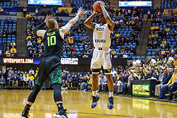 Jan 21, 2019; Morgantown, WV, USA; West Virginia Mountaineers guard Brandon Knapper (2) shoots a jumper during the second half against the Baylor Bears at WVU Coliseum. Mandatory Credit: Ben Queen-USA TODAY Sports