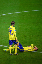March 23, 2019 - Stockholm, SWEDEN - 190323 Kristoffer Olsson and Marcus Berg of Sweden during the UEFA Euro Qualifier football match between Sweden and Romania on March 23, 2019 in Stockholm  (Credit Image: © Simon HastegÃ…Rd/Bildbyran via ZUMA Press)