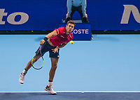 Tennis - 2019 Nitto ATP Finals at The O2 - Day Two<br /> <br /> Doubles Group Max Mirnyi: Kevin Krawietz (GER) & Andreas Mies (GER) Vs. Jean-Julien Rojer (NED) & Horia Tecau (ROM)<br /> <br /> Andreas Mies (GER) serving <br /> <br /> COLORSPORT/DANIEL BEARHAM