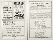 All Ireland Senior Hurling Championship Final,.Brochures,.02.09.1945, 09.02.1945, 2nd September 1945,.Tipperary 5-6, Kilkenny 3-6, .Minor Dublin v Tipperary, .Senior Tipperary v Kilkenny, .Croke Park, ..Advertisements, Twomey's Cakes and Pastries Lending Library, Lemon's Pure Sweets, Merville Cream Ices Craigie Bros Tolak Vale Finglas, ..Articles, Teachings of Davis,