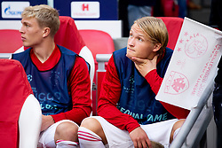 Rasmus Kristensen of Ajax, Kasper Dolberg of Ajax during the UEFA Champions League group E match between Ajax Amsterdam and AEK FC at the Johan Cruijff Arena on September 19, 2018 in Amsterdam, The Netherlands