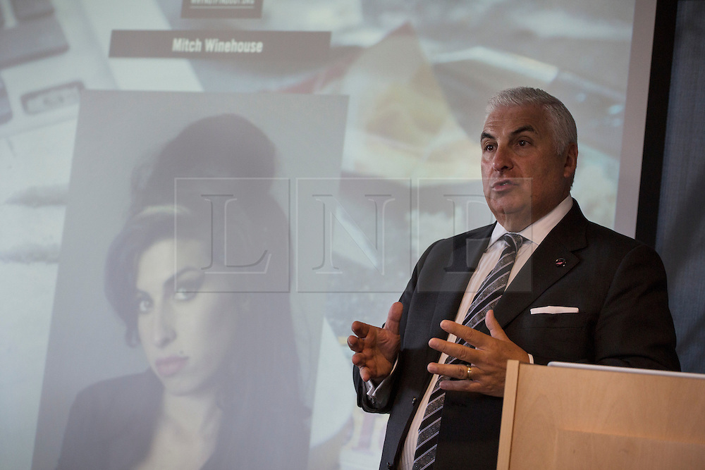 © licensed to London News Pictures. London, UK 16/10/2012. Mitch Winehouse, father of Amy Winehouse, speaking at the launch of The Find Out campaign at the Deutsche Bank, London. The Angelus Foundation and its The Find Out campaign highlighting the risks of 'legal highs' and club drugs and encourage young people to make responsible choices. Photo credit: Tolga Akmen/LNP
