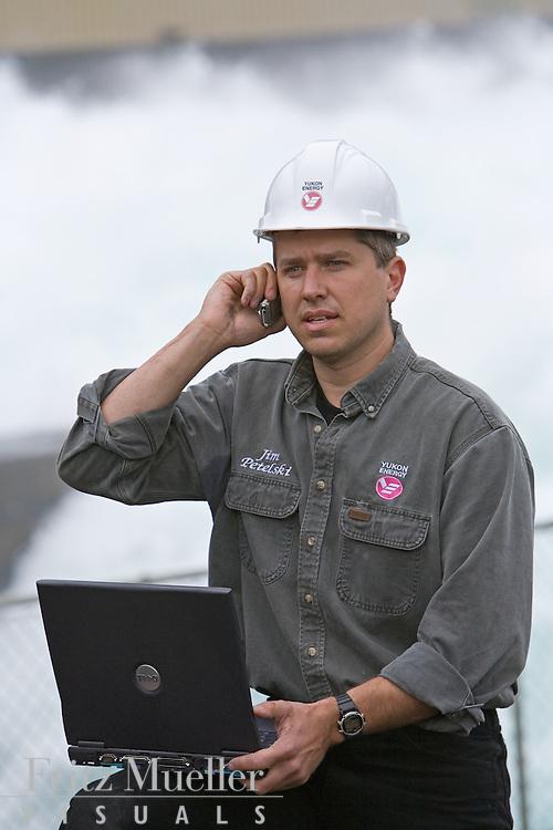 Yukon Energy Corporation engineer at the Whitehorse Dam on the Yukon River