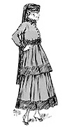 Women's  fashion. Dress and hat with veil considered suitable for mourning. From the French periodical 'Le Flambeau', 18 September 1915.  Death Bereavement First World War 1914-1918.