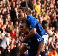 Fotball<br /> Premier League 2004/05<br /> Southampton v Everton<br /> 6. februar 2005<br /> Foto: Digitalsport<br /> NORWAY ONLY<br /> MARCUS BENT CELEBRATES EVERTON'S LATE EQUALIZER WITH JAMES BEATTIE