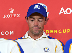 Team Europe's Rory McIlroy during a press conference after defeat to Team USA at the end of day three of the 43rd Ryder Cup at Whistling Straits, Wisconsin. Picture date: Sunday September 26, 2021.